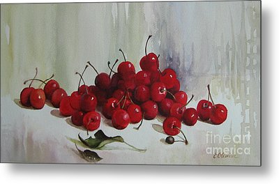 Metal Print featuring the painting Cherries by Elena Oleniuc