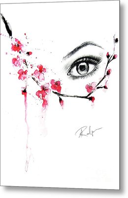 Cherry Blossom Love Metal Print