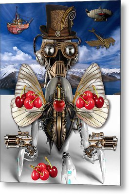 Cherry Robot Art Metal Print