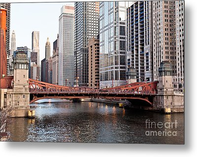 Chicago Downtown At Lasalle Street Bridge Metal Print by Paul Velgos