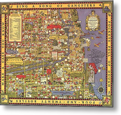 Chicago Gangland Map Metal Print by Roberto Prusso