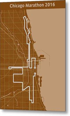 Chicago Marathon Brown Metal Print