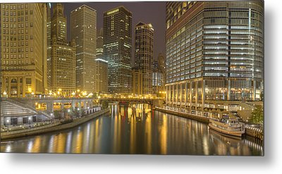 Chicago River At Night Metal Print by Twenty Two North Photography