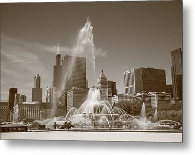 Chicago Skyline And Buckingham Fountain Metal Print by Frank Romeo