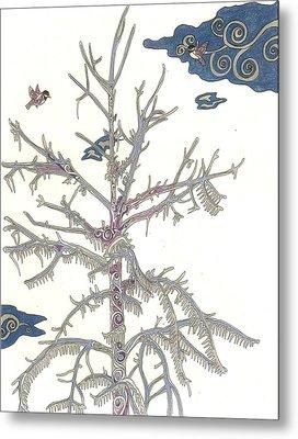 Chickadee Ice Tree Metal Print
