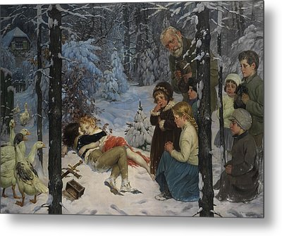 Children In The Snow Metal Print