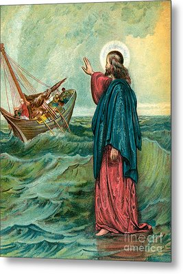 Christ Walking On The Sea Metal Print