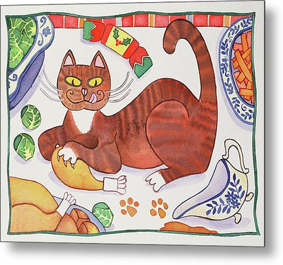 Christmas Cat And The Turkey Metal Print