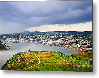 Cityscape Of Saint John's From Signal Hill Metal Print