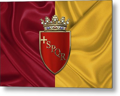 Coat Of Arms Of Rome Over Flag Of Rome Metal Print by Serge Averbukh