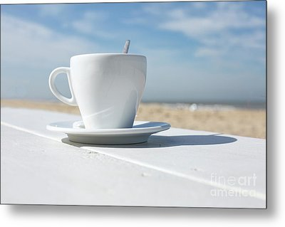 Metal Print featuring the photograph Coffee On The Beach by Patricia Hofmeester