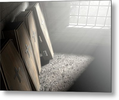 Coffin Row In A Room Metal Print by Allan Swart