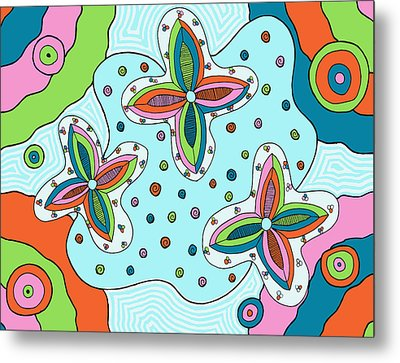 Metal Print featuring the drawing Color Collision by Jill Lenzmeier
