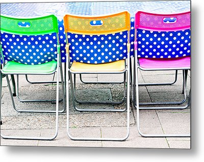 Colorful Chairs Metal Print by Tom Gowanlock