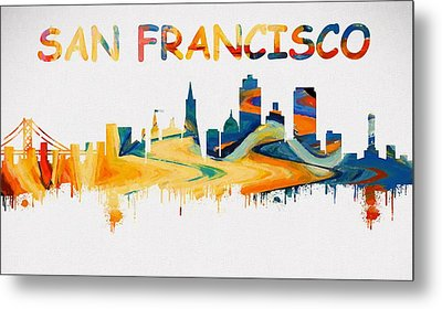 Colorful San Francisco Skyline Silhouette Two Metal Print