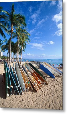 Colorful Surfboards On Waikiki Beach Metal Print by George Oze