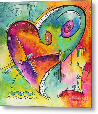 Colorful Whimsical Pop Art Style Heart Painting Unique Artwork By Megan Duncanson Metal Print