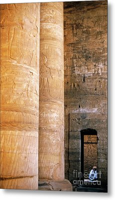 Columns With Hieroglyphs Depicted Horus At The Temple Of Edfu Metal Print by Sami Sarkis