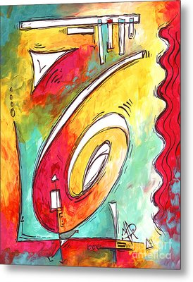 Contemporary Abstract Pop Art Style Original Painting Enjoy Life By Megan Duncanson Metal Print
