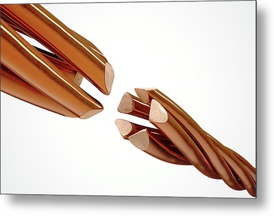 Copper Wire Strands Disconnected Metal Print by Allan Swart