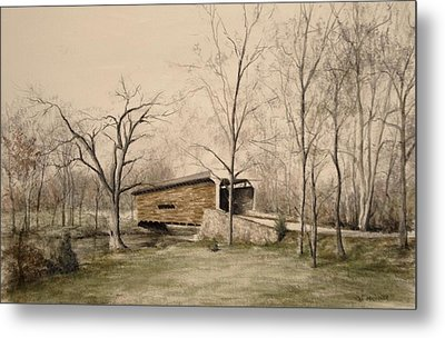 Covered Bridge In Winter Metal Print by David Bruce Michener