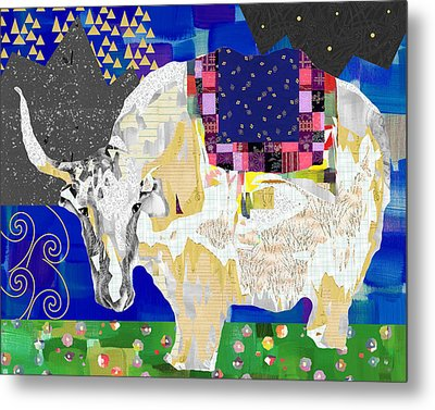 Stay Curious Cow Collage  Metal Print by Claudia Schoen
