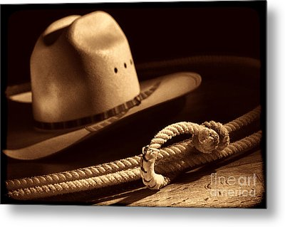 Cowboy Hat And Lasso Metal Print by American West Legend By Olivier Le Queinec