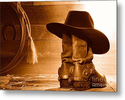 Cowboy Hat On Boots - Sepia Metal Print by Olivier Le Queinec