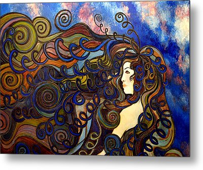 Curly Girl Metal Print by Monica Furlow