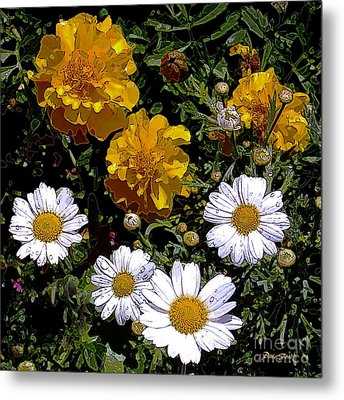 Daisies And Marigolds Metal Print by Dale   Ford