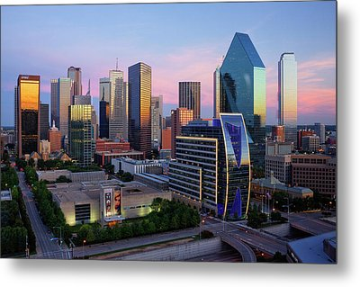 Dallas Skyline At Dusk Metal Print by Jeremy Woodhouse