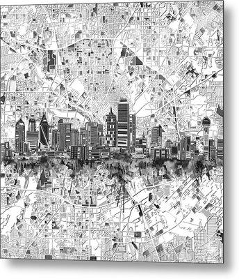 Dallas Skyline Map Black And White 5 Metal Print