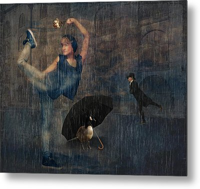 Dancing In The Rain Metal Print