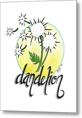 Metal Print featuring the drawing Dandelion by Cindy Garber Iverson