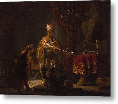 Daniel And Cyrus Before The Idol Bel Metal Print by Rembrandt van Rijn