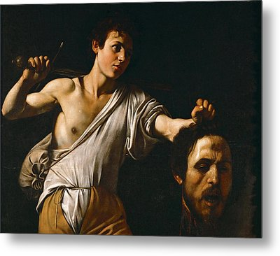 David With The Head Of Goliath Metal Print by Caravaggio