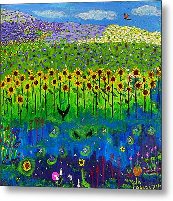 Day And Night In A Sunflower Field  Metal Print by Angela Annas