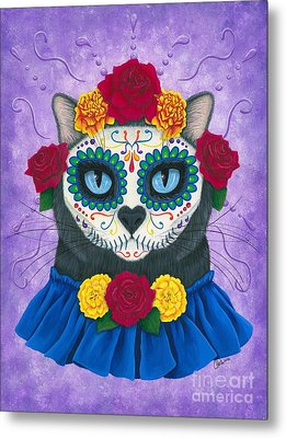 Metal Print featuring the painting Day Of The Dead Cat Gal - Sugar Skull Cat by Carrie Hawks