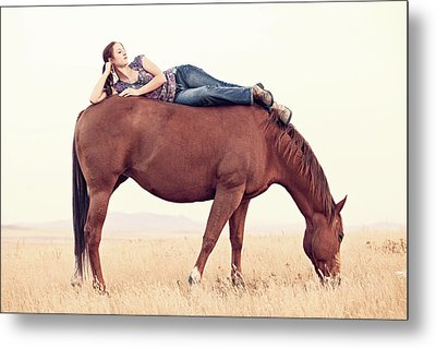 Daydreaming On A Horse Metal Print by Debi Bishop