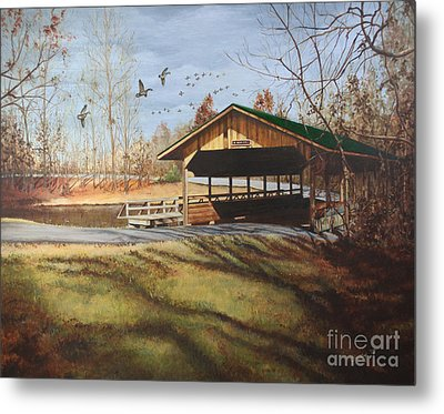 Dc Park Covered Bridge Metal Print by Emily Land