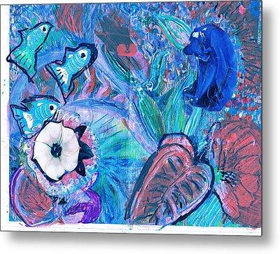 De Bear No Lookee De Fish Get Wey Metal Print by Anne-Elizabeth Whiteway