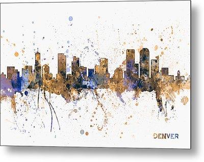 Denver Colorado Skyline Cityscape Metal Print by Michael Tompsett