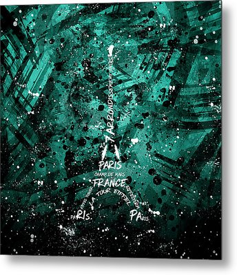 Digital Art Eiffel Tower - Cyan-green Metal Print