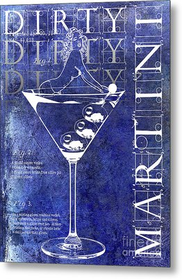 Dirty Dirty Martini Patent Blue Metal Print