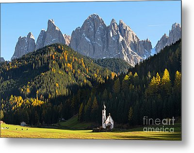 Dolomites Mountain Church Metal Print by IPics Photography
