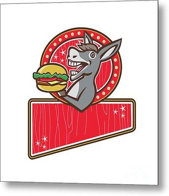 Donkey Mascot Serve Burger Rectangle Retro Metal Print by Aloysius Patrimonio