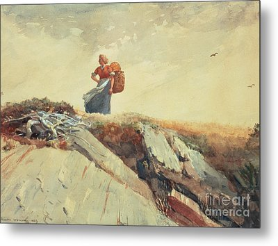 Down The Cliff Metal Print by Winslow Homer