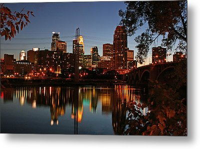 Downtown Minneapolis At Night Metal Print