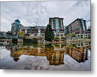 Downtown Of Greenville South Carolina Around Falls Park Metal Print
