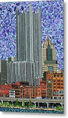 Downtown Pittsburgh - View From Smithfield Street Bridge Metal Print by Micah Mullen